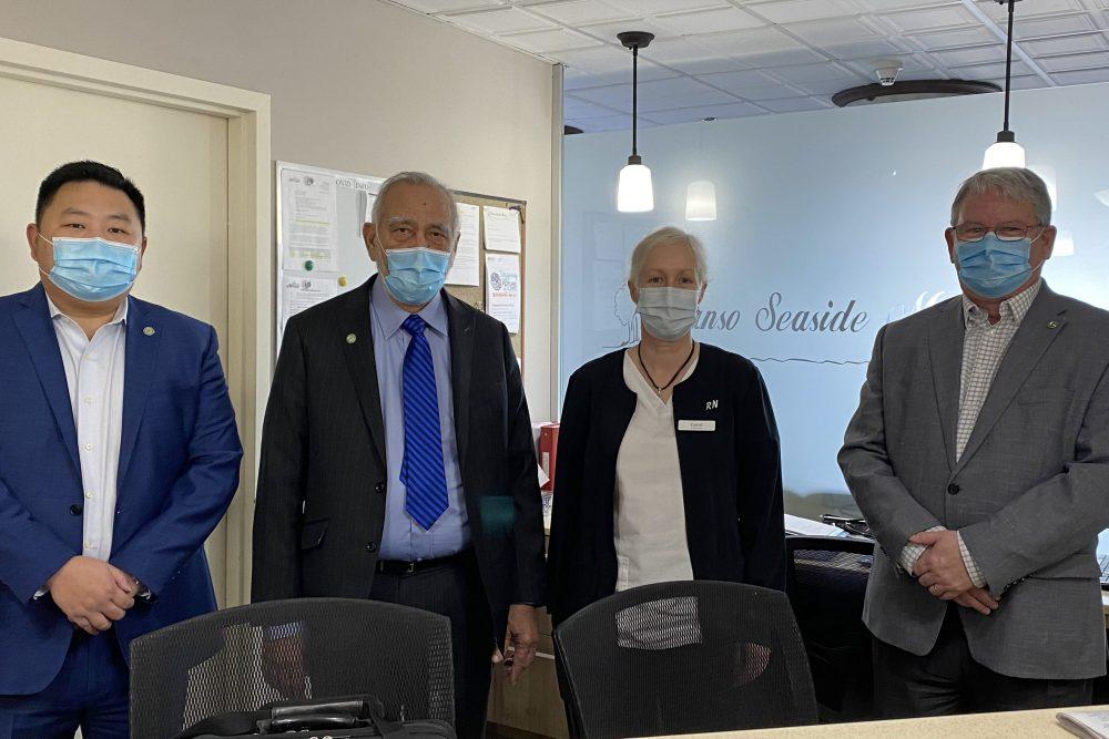 (l to r) John Yuan (GEM CFO), Syed Hussain (GEM CEO), Carol Rhynold (Canso Seaside Manor Administrator), James Balcom (GEM COO)